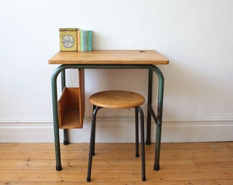 Vintage French school desk and bag holder - Leo Wiart