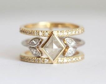 Unique Diamond Ring Set, Double Diamond Ring, Double Band Ring, Kite Diamond Ring, Rose Cut Diamond Ring, Silver Grey Diamond Ring