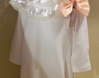 Reborn doll Newborn Baby  sleeper nightgown and hat in  white/pale pink/reborn dolls clothes