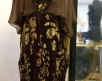 Brown and Gold 1920s Art Nouveau Dress