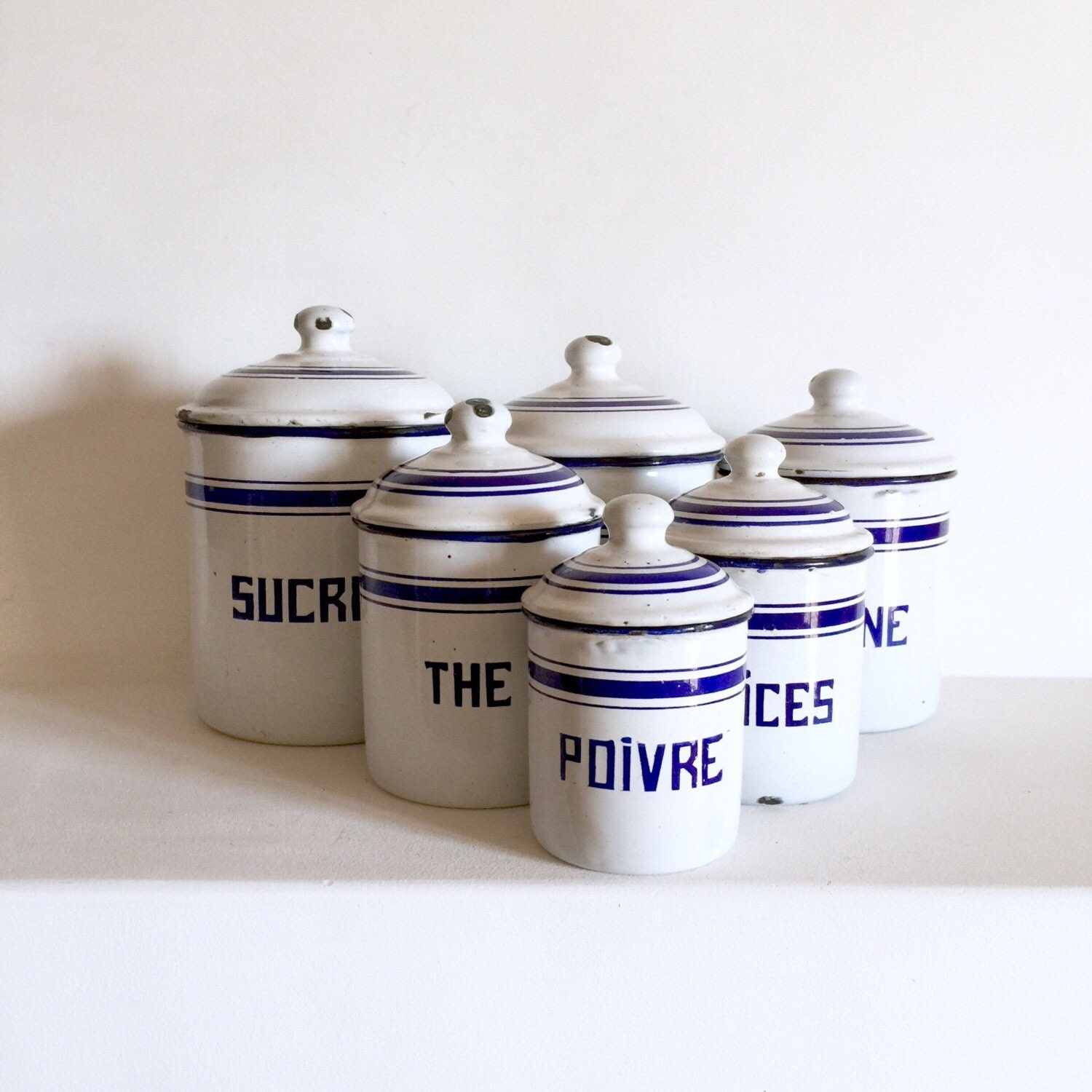 French Antique Enamel Canisters - French Kitchen Canisters ...