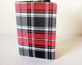 Tartan Passport Cover / holder in Red, Black, White Tartan / Plaid Fabric -  Wool like Polyviscose fabric - Handmade in Scotland