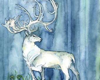 """Watercolor White Stag Painting - Print titled, """"Hart of the Forest"""", Elk, Deer Painting, Watercolor, Patronus, White Stag, Fantasy Art"""