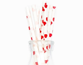 Pink & Red Heart Paper Party Straws - party decor / birthdays / dessert tables / supplies