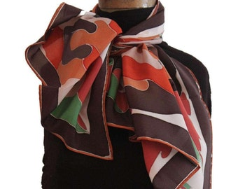 Hand painted crèpe de chine silk scarf