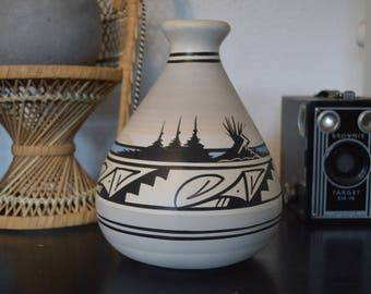 Southwestern Navajo Ceramic Vase • Carved/Painted
