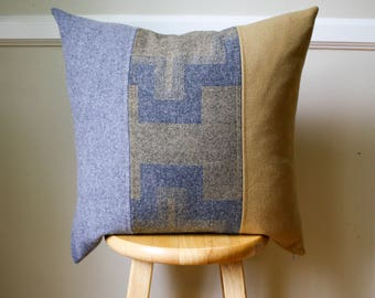 Gray and Mustard Yellow Pendleton Wool Pillow Cover - 20x20