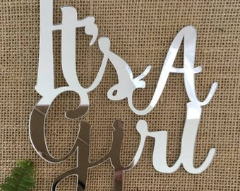 It's A Girl Silver Mirror Wedding Baby Shower Cake Topper