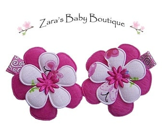 Pink Clips, Baby Girl Clips, Toddler Clips, Flower Hair Clip, Pink, Green, Denim, White, Baby Hair Clips, ZBB