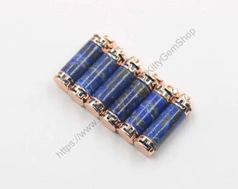 Lapis Lazuli Cylinder Pendants With Rose Gold Plated -- Gemstone Natural Stone Charms Wholesale YHA-273