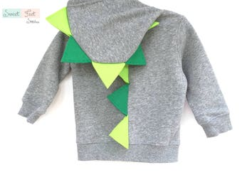 18m Gray Dinosaur Hoodie with Green Spikes