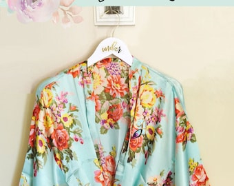 Bridesmaid Robes Set of 6 , 7 , 8, 9 , 10 or set of 4 or 5 -  YOU CHOOSE QTY  (EB3152) Bridesmaid Robes Floral