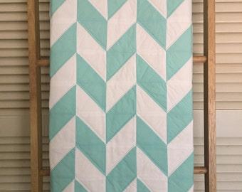 Baby Quilt, Aqua and White Herringbone Pattern