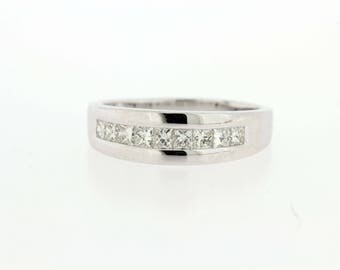 14K White Gold Princess Cut Diamond ring Channel Set