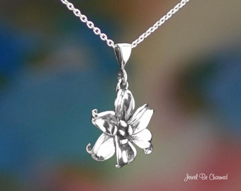 """Sterling Silver Daylily or Lily Necklace 16-24"""" or Pendant Only .925"""