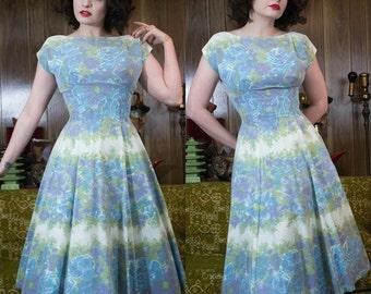 "50s Rose Dress   1950s Dress   50s Party Dress   50s Dress   50s Chiffon Dress   Blue Roses   Rose Print   50s Floral Dress   26"" Waist"
