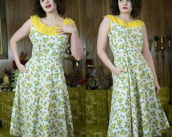 40s Rose Dress | 40s Yellow Dress | 40s Sundress | 40s Dress | 1940s Dress | 1940s Sundress | 40s Yellow Sundress | 40s Floral Dress | 30""