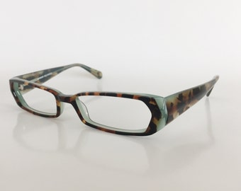 Tortoise Aqua Rectangular Eyeglasses Frame, Reading Glasses, Womens Eyeglasses, Fashion Eyewear, Eyejets Eyewear