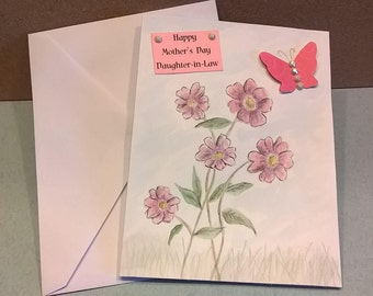 Watercolor, Daughter-In-Law, Mother's Day Card, Hand Made