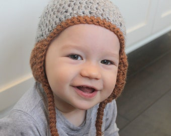 Baby Earflap Hat-Grey and Brown Earflap Hat with Pom Pom