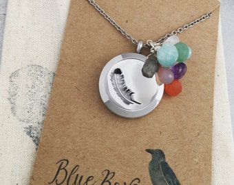 All the Gems / Stainless Steel / Silver / Essential Oil Diffuser Locket / Feather Locket Necklace