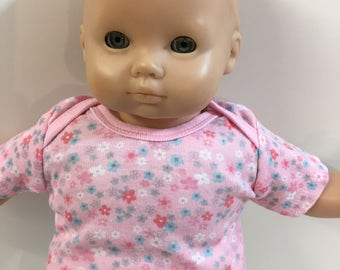 "15 inch Bitty Baby Clothes, TOP Only, ""PINK with Pretty FLOWERs Top"", 15 inch AG American Doll Bitty Baby/Twin Doll, Top Only- 4.00 Dollars"