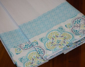 Flour Sack Towels  aqua print set of two teacher gift housewarming gift stocking stuffer aqua kitchen