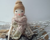 Fabric Doll, rag doll Natalie  in a ivory black dress and rose lace scarf. Hand painted unique face. Beautiful gift for a girl, doll lovers