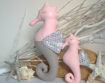 Stuffed seahorse, Plush Seahorse toy, seahorse pillow. Grey and pink palette. Cute & child friendly soft toys. Baby shower, birthday gifts