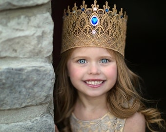 Regal Princess Queen Rhinestone Gold Lace Crown - Emma - Gold Crown - Swarovski - Crystal - Royal - Photography Prop - Full Size