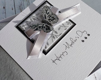 "Boxed Mother's Day Card, personalised for Mum, Gran, Nan ""Black & Silver Butterfly"""