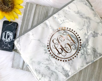 "Marble Monogram Laptop Sleeve | White Marble | Circle Dot Border | Personalized | 11"" 12"" 13"" 14"" 15"""