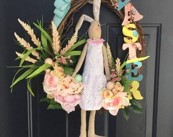Easter Bunny Spring Wreath For Front Door, Easter Sign Wreath, Bunny Girl Dress Wreath, Spring Door Hanger, Pastel Spring Wreath, Bunny