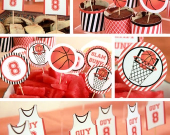 Basketball Cupcake Toppers - Basketball Party - Basketball Birthday - Basketball Decoration - Basketball Party Printables (Instant Download)