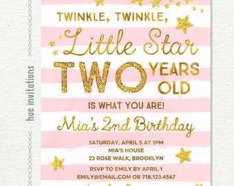 twinkle twinkle little star first birthday invitation with