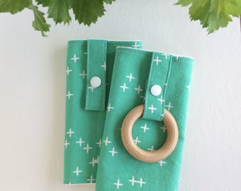 ORGANIC Baby Carrier Drool Pads with Wooden Teething Ring (for Ergo, Beco, Boba, Tula, Lillebaby, etc.) | Ready to Ship