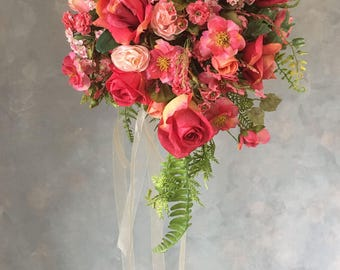 SILK Two piece WEDDING FLOWERS bouquet and boutonniere