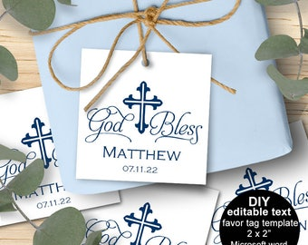 Boy baptism favor tags, baptism favor tags, baptism favor for boys, christening favors, DIY, printable, editable text, download instantly