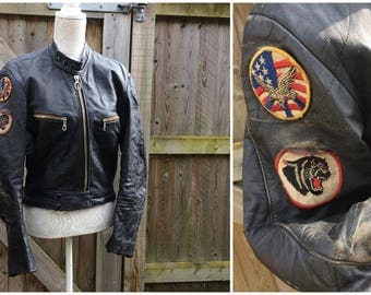 """AWESOME 1970's """"Harro Kombi"""" Leather Biker Jacket - Cafe Racer - Girl on A Motorcycle - Rockabilly - Classic - Size M - 36"""" Chest"""