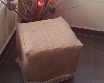 Burlap Ottoman Slipcover - Burlap Ottoman Cover with Fringe - Ottoman Cover - Chair Cover - Slipcover  - Rustic Decor - Rustic Home Decor