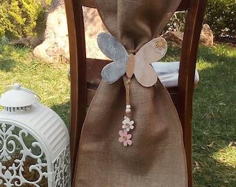 Burlap Chair Sash - Chair Swag - Bride and Groom Chair Sashes - Burlap Chair Tie - Wedding Chair Sash - Rustic Wedding Chair Sash - Set of 2