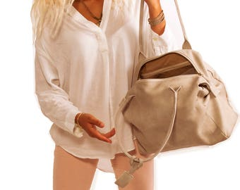 Sale!!! Light grey Leather purse bag Leather handbag zipper Leather bag purse women Leather Handmade bag soft leather tote with zipper