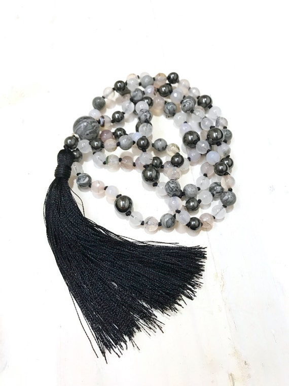 Root Chakra Mala Beads, Hematite Jasper Quartz and Agate Mala necklace, Black Silk Tassel Mala, 108 Bead Mala, Mala Beads For Meditation