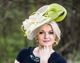 Hat Royal Ascot has ball Hat Kentucky-Derby horse racing has couture millinery Sinamay wedding Fascinator U11