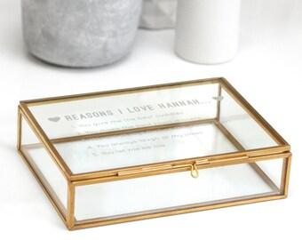 Reasons I Love Mum Box, Glass Jewelry box, Custom Jewellery Box, Gift For Mum, Trinket Box, Personalised Reasons I Love You Rectangular Box