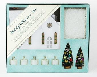 Holiday Village Set of 5 Pop-Up Fold-Flat, Putz Houses, Paper Village, Holiday Village, Bottle Brush Trees