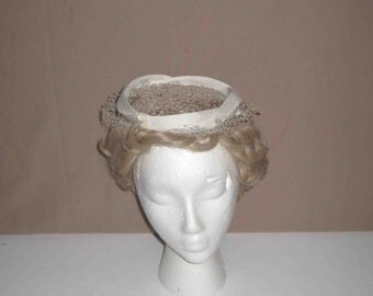 Vintage Cream Colored Hat With Veil, Millinery And Tied Ribbons