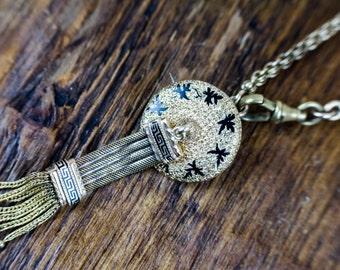 Victorian 14k Gold Enamel Tassel Necklace