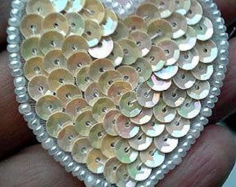 Sequins & Beaded Cream Iridescent Heart (PAIR) Appliques
