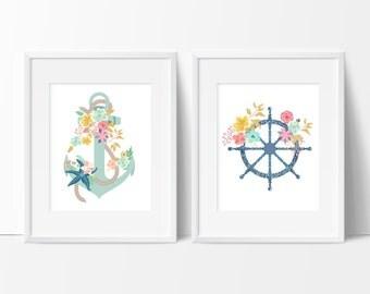 Nautical Bathroom Art - Girls Bathroom Art - Girly Bathroom Art - Anchor Bathroom Decor - Nautical Bathroom - Nautical Office - Set of 2